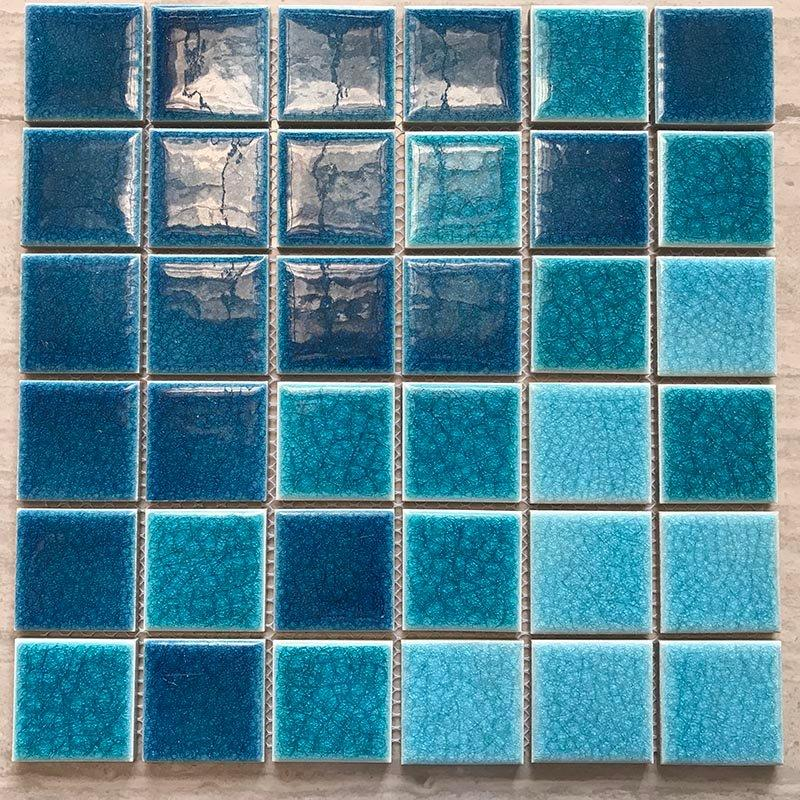 Thick ice cracked 3 color blue bathroom balcony tile mosaic  	BID311H3B