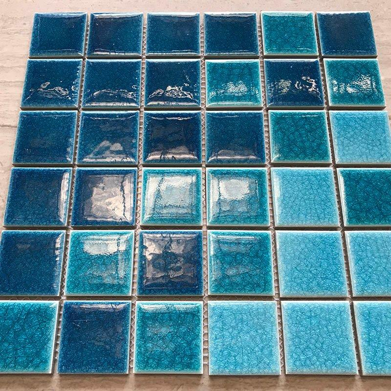 Thick ice cracked 3 color blue bathroom balcony tile mosaic  BID311H3B