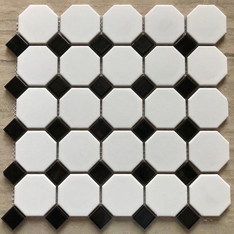 Ceramics mosaix hot sale octangle white&black glazed mosaic RJ23yj057