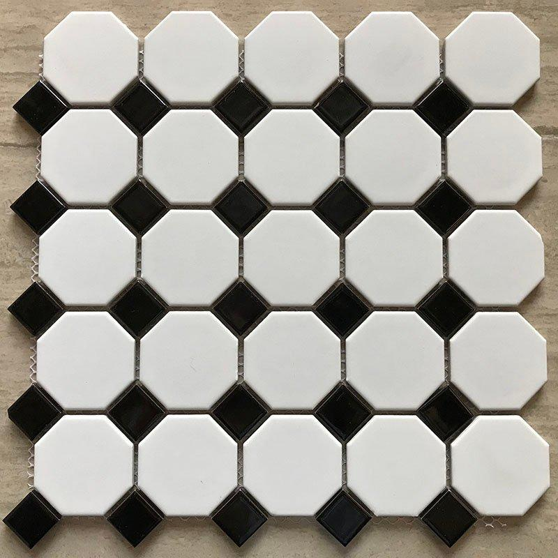 Ceramics mosaix hot sale octangle white&black glazed mosaic RJ23yj057