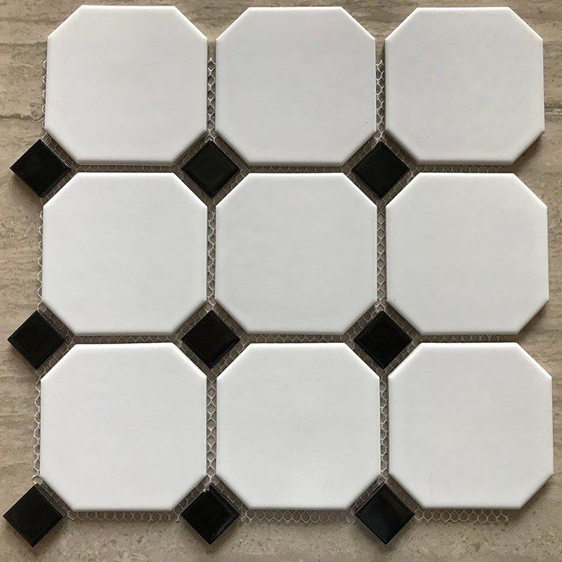 Ceramics mosaix hot sale octangle white glazed mosaic  RJD0513
