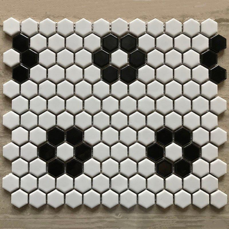 Ceramics mosaix black & white wintersweet glazed mosaic matt  	RJM31200