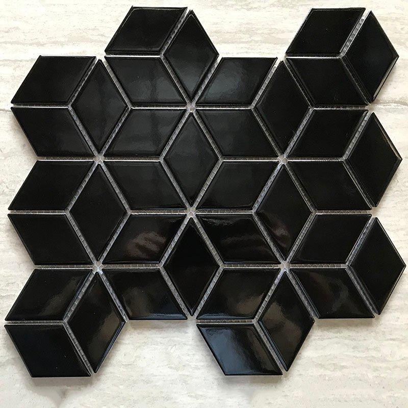 Ceramics mosaix rhombus black glazed gross glaze mosaic  RJKL4913